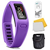 Garmin Vivofit Fitness Band with Heart Rate Monitor (Purple) Plus Accessory Bundle. Bundle Includes Xtreme Audio Earbuds with Microphone, Deluxe Case, and Micro Fiber Cleaning Cloth