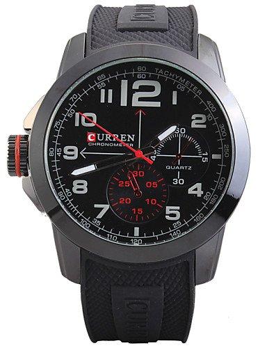 lxhome-mans-quartz-wrist-watch-round-dial-fashion-silicone-strap-assorted-colors-black