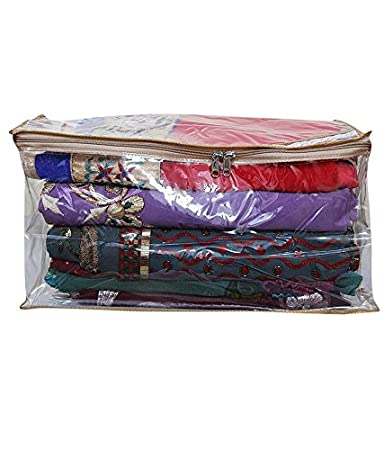 Kuber Industries Saree cover Full Transparent With Capacity of 10-15 Sarees By Amazon @ Rs.269