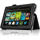 InventCase Amazon Kindle Fire HD 7 Tablet (3rd Generation - 7-Inch) 2013 Smart Multi-Functional Leather 2-Fold Case Cover with Sleep Wake Function - Black