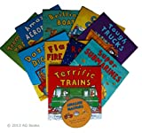 Amazing Machines Book and Audio CD collection 10 books: Amazing Aeroplanes / Brilliant Boats / Cool Cars / Dazzling Diggers / Flashing Fire Engines / Roarding Rockets / Super Submarines / Terrific Train /Tough Truck /Tremendous Tractor + 20 track CD