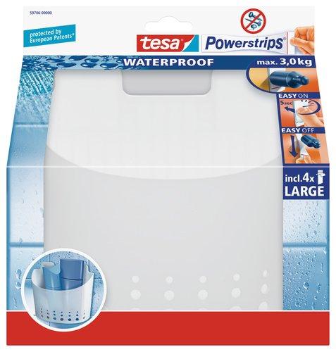 tesa Duschkorb groß, wasserfest, selbstklebend, bis 3 kg belastbar