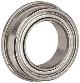 Dynaroll Precision Miniature Ball Bearing, ABEC-3, Double Shielded, Flanged, Stainless Steel
