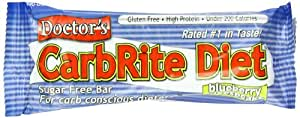 Doctor's CarbRite Diet Sugar Free Bar, Blueberry Cheesecake, 2-Ounce Bars, 12-Count