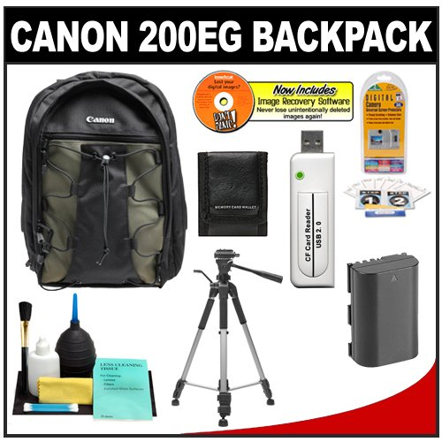 51VD5e7oBuL Canon 200EG Deluxe Digital SLR Camera Backpack Case + Tripod + LP E5 Battery + Accessory Kit for Canon EOS Rebel XS, XSi, T1i