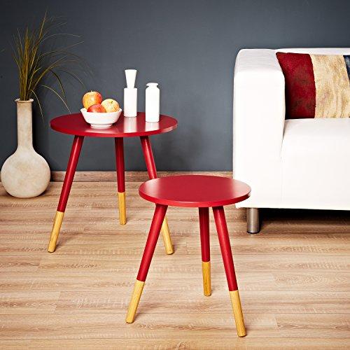 LOMOS® No.13 Beistelltisch (2er-Set) in rot aus Holz im modernen Retro-Look