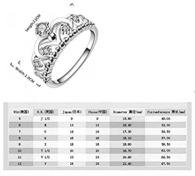 SunIfSnow Womens US and European Style High-grade Full Diamond Crown Rings