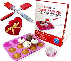 Premium 12 Cup Silicone Muffin Pan & Cupcake Baking Pan Complete Bundle - Best Valentine's Day Gift - Muffin Pan + Spatula + Pastry Brush + Paper Cups - Non-stick Food Grade Silicone