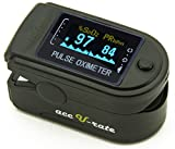 Acc U Rate CMS 50D Fingertip Pulse Oximeter Oximetry Blood Oxygen Saturation Monitor with silicon cover, batteries and lanyard