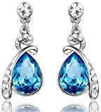 Arco Iris Eternal Love Teardrop Swarovski Elements Crystal Earrings for Women - Blue Topaz - 1140401