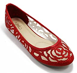 Walstar Women Flat Slip on Shoes (10 B(M) US, Red)