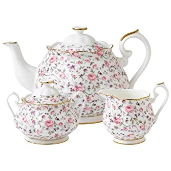 Three Piece Rose Confetti Tea Set