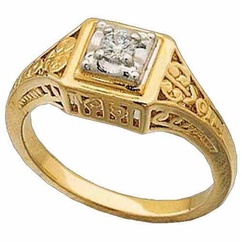 14Kt Yellow Gold Diamond Filigree Fashion Ring