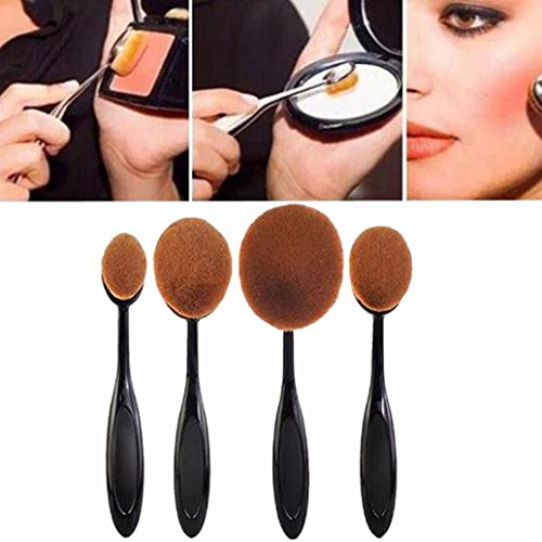 Set Pennelli Make Up Professionali Viso Make Up Ovali Ovale Strumento Cosmetic Big 4 pezzi grandi Spazzolino da denti spazzole di spazzola di trucco in polvere sciolto