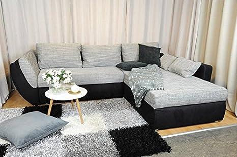 AVANTI TRENDSTORE - Divano con funzione letto e box incorporato in microfibra nera, ca. 272x70x94 cm