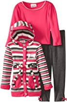 Little Lass Girls 2-6X 3 Piece Belted Rib Knit Cardigan Set, Gray, 4T
