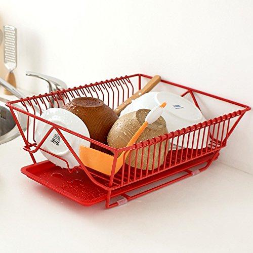 Yifom Des cerveaux de rack de stockage cuisine bol plat grilles, rouge