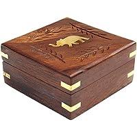 ITOS365 Handmade Wooden Jewellery Box for Women Jewel Organizer Square Elephant Décor