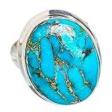 Blue Copper Composite Turquoise, Turquoise Bleue Composite Cuivre Argent Sterling 925 Bague 7.25