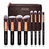 Party Queen Premium Makeup Brush Set Classic 8Pcs Rose Golden Kabuki Brush Cosmetic Kit + Luxurious Coffee Leather Case-Supreme Quality For Flawless Beauty