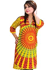 Exotic India Long Kurti From Pilkhuwa With Printed Chakras