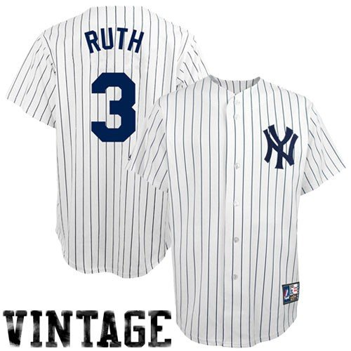 MLB Babe Ruth New York Yankees 1927 Adult Short Sleeve Synthetic Replica Jersey (Pinstripes-Yankees Coop, X-Large) at Amazon.com