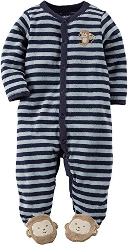 Carters Baby Boys Monkey Terry Snap-Up Sleep & Play 6 Month Blue