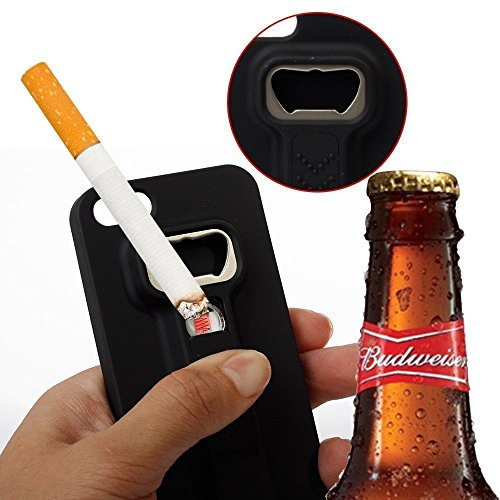 iPhone 6/6s Case- the Swiss Army Knife of iPhone cases - Multi-functional Cigarette Lighter Cover for iPhone 6/6s Built-in Cigarette Lighter/Bottle Opener - by Wasserstein (Black)