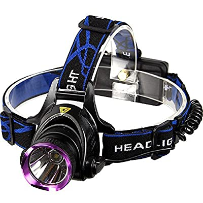 LED Headlamp, Trighteach Running, Hiking, Reading, Camping, 3Modes LED Headlamps, 2200 Lumens, Waterproof, Black/Purple Battery Powered Helmet Light, Hands-free Camping Headlight.
