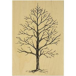 Judikins J2342H Rubber Stamp, 4 by 2.75-Inch, Winter Tree
