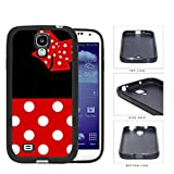 Cute Red and White Polka Dots Pattern on Bottom and Bow with Black Background Hard Rubber TPU Phone Case Cover Samsung Galaxy S4 I9500
