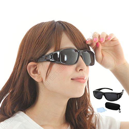 【Barsado】メガネの上から掛けられる オーバーサングラス サングラス メンズ レディース 兼用 偏光 UV400 紫外線 99.9%カット 眼鏡+ケース+眼鏡 拭き 3点セット(ブラックつや有)