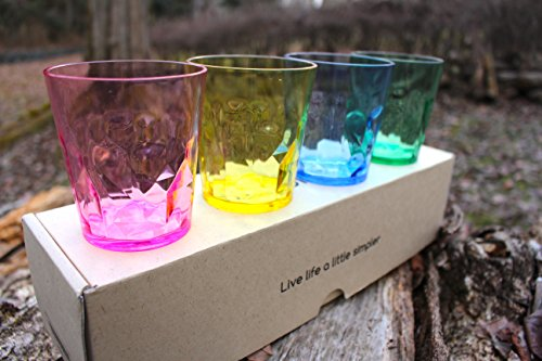 premium drinking glasses set of 4 unbreakable tritan plastic bpa free 100 made in japan assorted