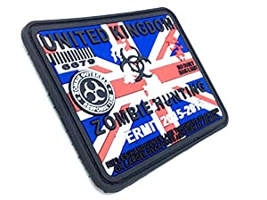 United Kingdom Zombie Hunting Permit Union Jack PVC Airsoft Paintball Velcro Patch