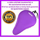 "Premium PURPLE Thick Bike Gel Seat Cushion Cover 10.5""x7"" Domain Cycling - Most Comfortable Bicycle Saddle Pad for Spin Class or Outdoor Biking"