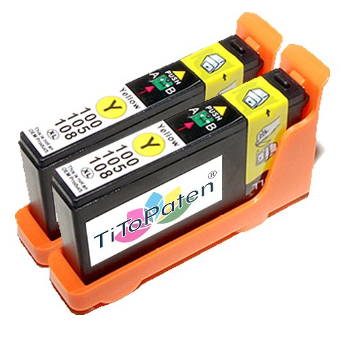 2x kompatible Druckerpatronen Lexmark 100 in Gelb für Drucker Lexmark Pinnacle Pro 901 Hohe Kapazität