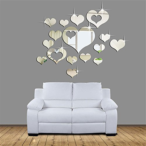 Leoy88 15pcs 3D Acrylic Diamond Mirror Wall Stickers Heart Art Decor Wall Stickers Living Room Decoration