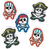 Radiergummis - Piraten - Schreibwaren für Kinder als Mitgebsel und Preis beim Kindergeburtstag und für die Schule - 12 Stück
