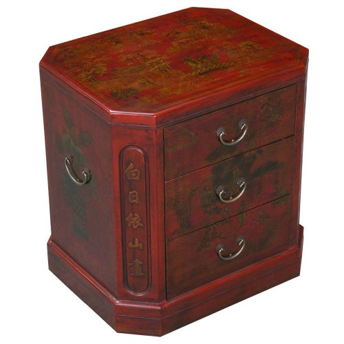 Cheap EXP Handmade Oriental Furniture 24-Inch Antique Style Red Leather 3-Drawer End Table, Oriental Poem (frc5003)