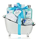 Spa Gift Basket with Refreshing Ocean Bliss Fragrance - Perfect Holiday or Special Occasion Gift for Men and Women - Bath Gift Set Includes Shower Gel, Bubble Bath, Bath Salts, Bath Bombs and More!