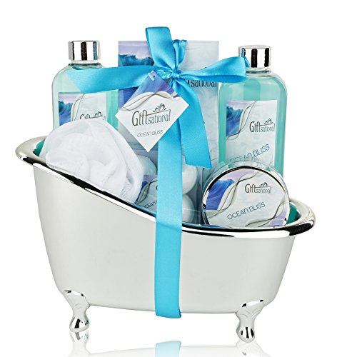 Spa Gift Basket with Refreshing Ocean Bliss Fragrance - Perfect Holiday or Special Occasion Gift for Men and Women - Bath Gift Set Includes Shower Gel, Bubble Bath, Bath Salts, Bath Bombs and More! 50 Ml Bath