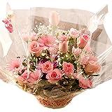 バラ ピンク アレンジ お誕生日・記念日に翌日配達 お花屋さんPink roses wih basket for birthday or anniversary gift