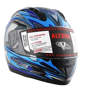 Vega Altura Helmet with Vantage Graphic (Bright Blue, XX-Large)