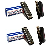 Hohner Blues Band C (1501BXC) Harmonica Pack With 2 Blues Band Harmonicas & 2 Free Hohner Zippered Harmonica Case