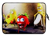 Wayzon Premium Quality Water Resistant Neoprene Soft 11.5 inch X 8 inch Zip Sleeve Case Cover Pouch Skin Holster With Playing & Expressive Banana Strawberry & Pear suitable for Fujitsu Stylistic Q550 3G Tablet