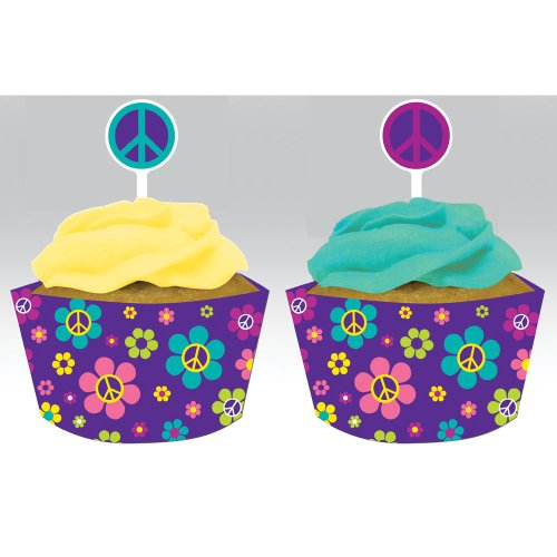 Creative Converting Groovy Girl Cupcake Pick Decorations With Matching Baking Cup Wrappers, 12 Count front-565874