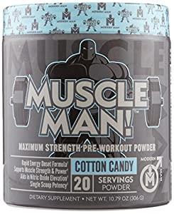 Muscle Man - All-In-One Muscle Building Pre Workout, Advanced Formula Combines Sustained Energy Rush w/ Elite Performance Enhancers for More Power/Strength and N.O. Elevation, Cotton Candy, 306 gram