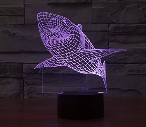 3D Lamp Table Night light Shark Shape Gift Acrylic Furniture Decorative colorful 7 color change household Desk Accessories (Shark Light Switch compare prices)