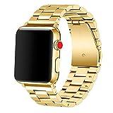 Apple Watch Band 42mm Premium Stainless Steel Metal Apple Watch Bands iWatch Bands Apple Watch Band Replacement for Apple Watch Series 1 Series 2 Series 3 Libra & Gemini (Gold)
