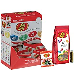 Jelly Belly Assorted Flavors Jelly Beans .35 oz (80 bags) & 49 Assorted Flavors Jelly Beans 7.5 oz Gift Bag with a Jarosa Bee Organic Chocolate Bliss Lip Balm